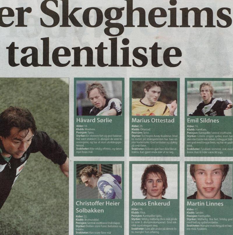 UNG UTGAVE: Jonas Enkerud var igjen på Hamams ønskeliste som 19-åring. Faksimile HA.